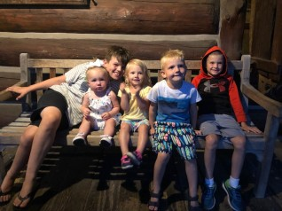 grandkids at Log Jam